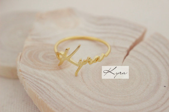 Custom Hand Stamped Jewelry Charm Initial LETTER Ring Popular Zinc Alloy Actual Handwriting Ring Bridesmaid Gift