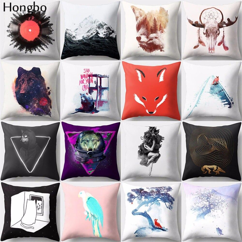 Hongbo 1 Pcs Cat Box Golf Bird Fox Printed Pillow Case Cushion Cover Bed Pillowcase For Car Sofa Home Decor
