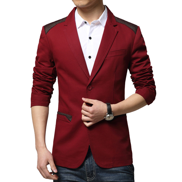 Горячая Продажа 2016 Новый Осенняя Мода Марка Красный Блейзер Мужчины Повседневная Костюм куртка Сращивания Мужчин Slim Fit Костюмы Две Кнопки Мужчины Костюм Мужчины М-6XL
