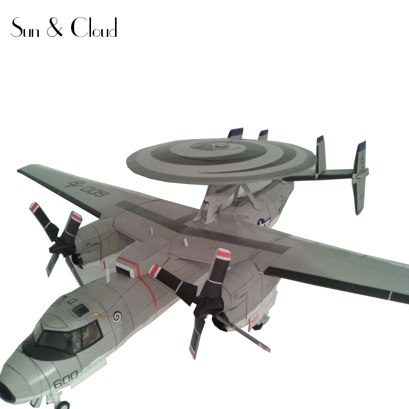 132 3D American Northrop Grumman E 2C Hawkeye Plane Aircraft Paper Model Assemble Hand Work Puzzle Game DIY Kids Toy