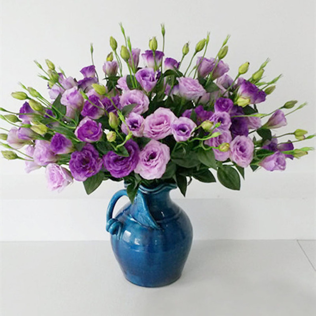 silk flowers 3 head eustoma artificial plants 65cm home decoration