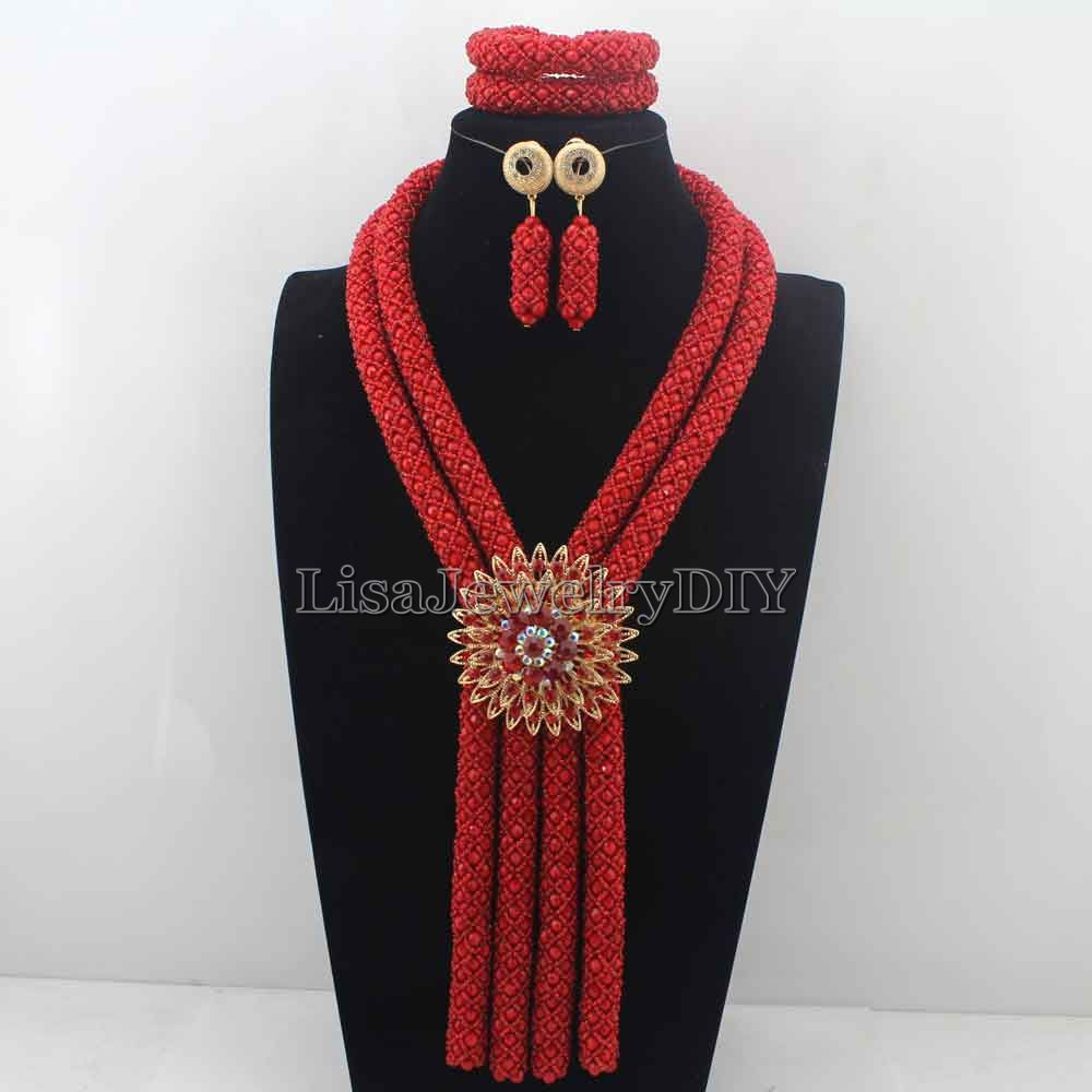 2019 African Wedding Beads Necklace Set Costume Nigerian Beads Red Crystal Jewelry Set Flower Pendant Free Shipping HD77362019 African Wedding Beads Necklace Set Costume Nigerian Beads Red Crystal Jewelry Set Flower Pendant Free Shipping HD7736