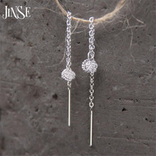 JINSE Womens Girl Jewelry Gifts Long Chain Earring Round Ball Drop Charms Dangle Earrings S925 Silver 4.20mm 35mm