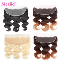 Mealid 613 Blonde Brazilian Remy Hair Lace Frontal With Baby Hair Pre Plucked 13x4 Natural Color Free Part 10 20 inch