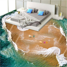 Beibehang Beautiful sea view beach spray sea star shell 3d flooring 3D dimensional painting personalized wallpaper papier peint