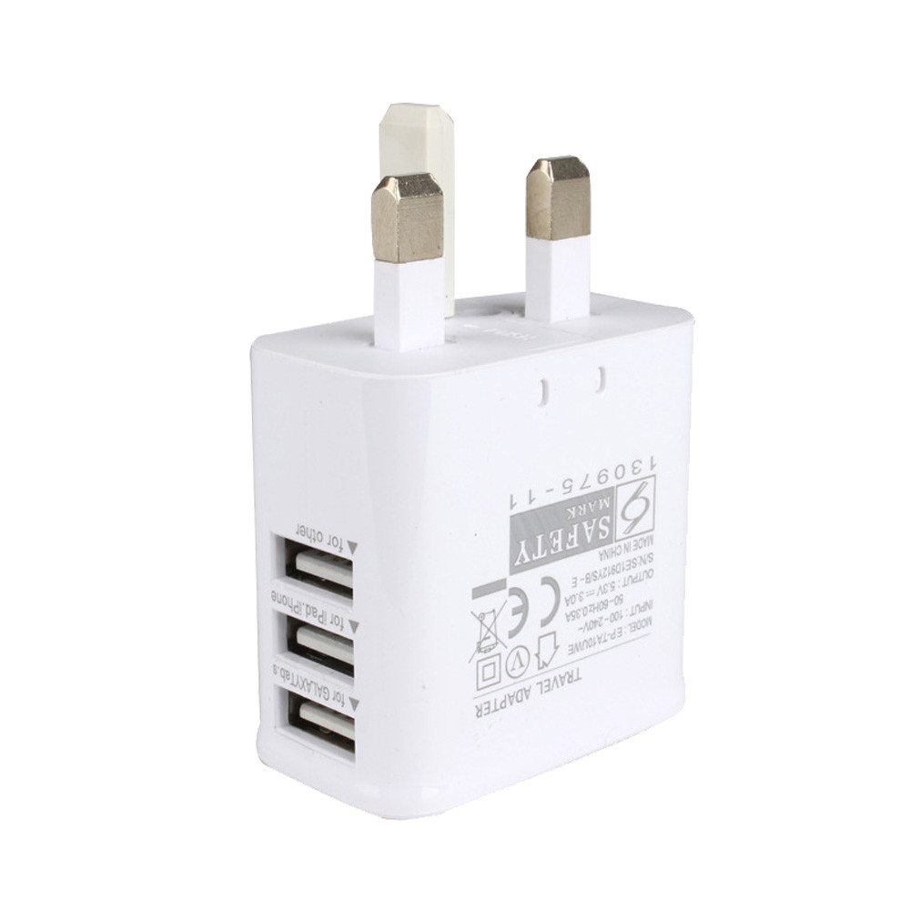 High Transmission Uk Plug 2.4 3 Port Usb Ac Power Adapter Mobile Phone Charger For Ipad / Smartphone #10