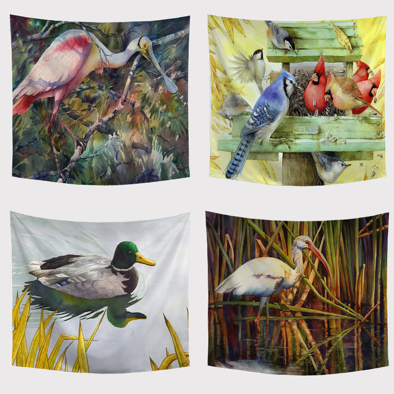 Duck Home Decor: Parrot Tapestry Wall Art Tapestries Tropical Beach Towels