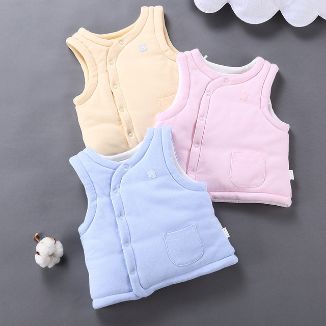 Baby Winter Waistcoats Infant Girls Boys Cotton-padded Cardigan Outerwear Toddler 3 Layers Vest Coats Topwear Baby Warm Clothing