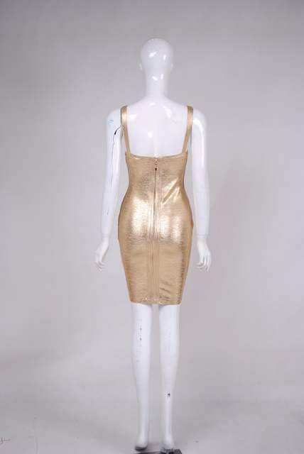 bac2a4590f Spring Fashion Sexy V Neck Bronzing Silver Gold Bandage Dress 2018 Knitted  Elastic Designer Party Dress