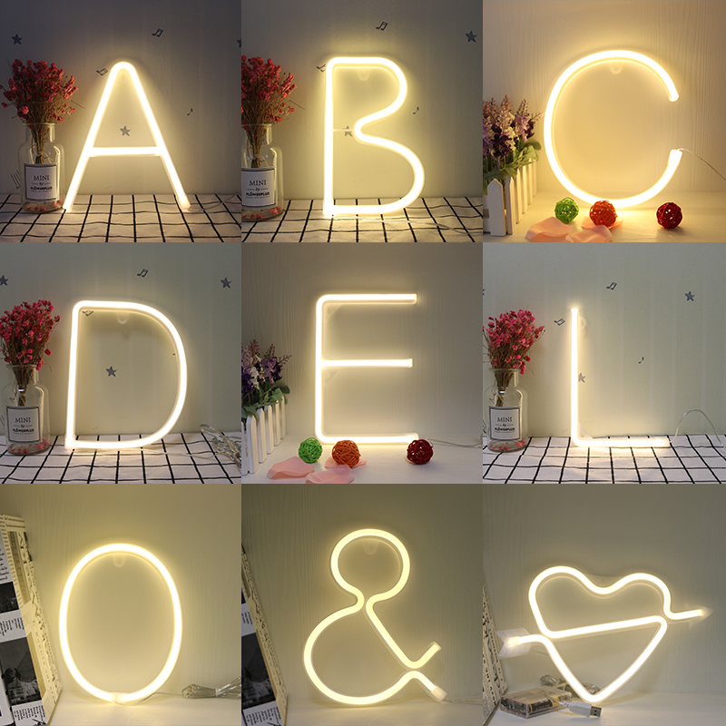 Night Light Neon Alphabet Lamp 26 Letters LED For Birthday Wedding Party Bedroom Wall Hanging Decor Light Night alameda wall hanging bedroom decor tapestry