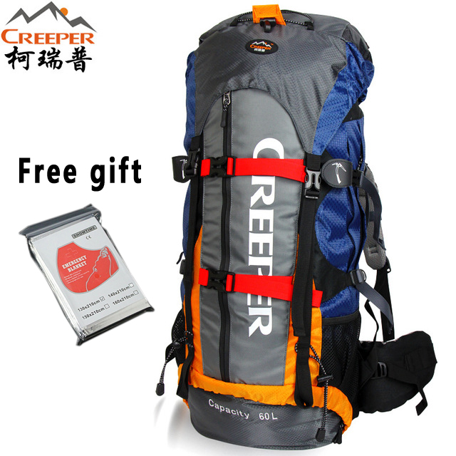 Creeper Camping Backpack 60L Hiking Climbing Sport Mountaineering Double Shoulder Bag Large Capacity Waterproof Travel Backpack creeper brand outdoor mountaineering backpack travel camping large capacity 70 liters shoulder tactical package