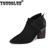 YOUGOLUN Spring Autumn Women Ankle Boots Cow Suede Leather Thick Heels(6cm)Fashion Woman Pointed toe Wine Red Black Riding Shoes