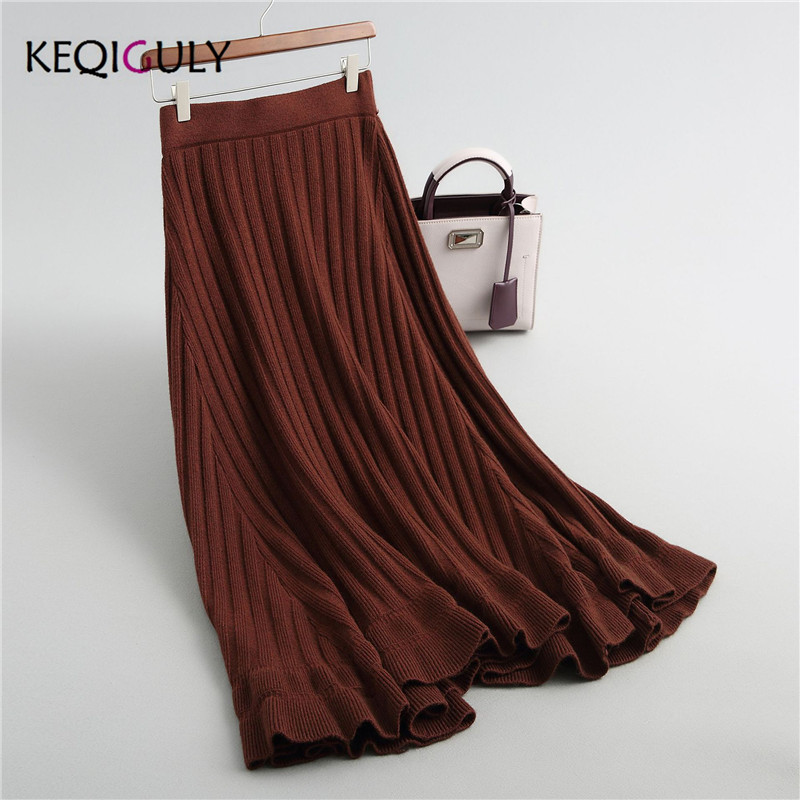 as Saia Edge As New Picture gray A Picture Wavy black P2403 line Knitted Swing Retro 2018 Elegant Color Maxi Skirt Solid Big Knit Midi zCBSzF