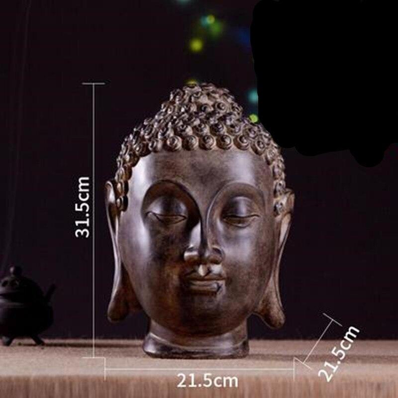 Statue de tête de bouddha rétro thaïlande bouddhisme Figurine Sculptures résine hindouisme Art et artisanat sud-est asiatique décorations pour la maison R31
