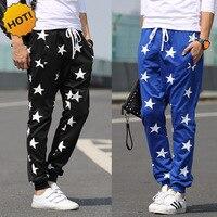 אופנה בחוץ כוכבים רופפים מכנסי הרמון הדפסת היפ הופ גברים כחולים שחורים קרסול טריטון רחבים מכנסי טרנינג היפ הופ Strawstring M-XXL