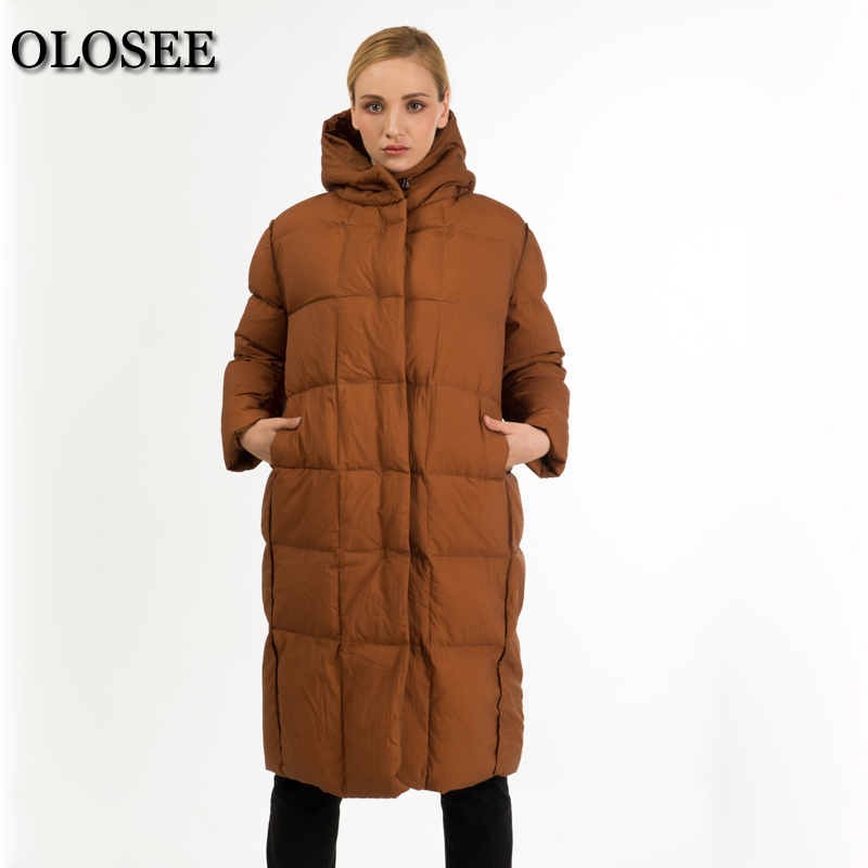Trendy High Collar Elegant Slim Hooded Down Jacket Women Winter Over Knee Duck Down Coat Ropa De Invierno Para Mujeres