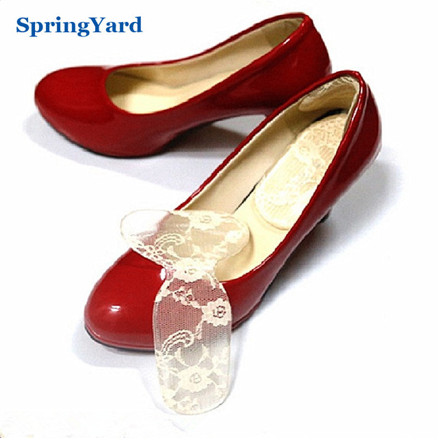 2 In 1 Gel + Lace Lady Heels/Sandals Heel Grips Sticker and Heel Cushion Pad Foot Care Insoles for Shoe Woman