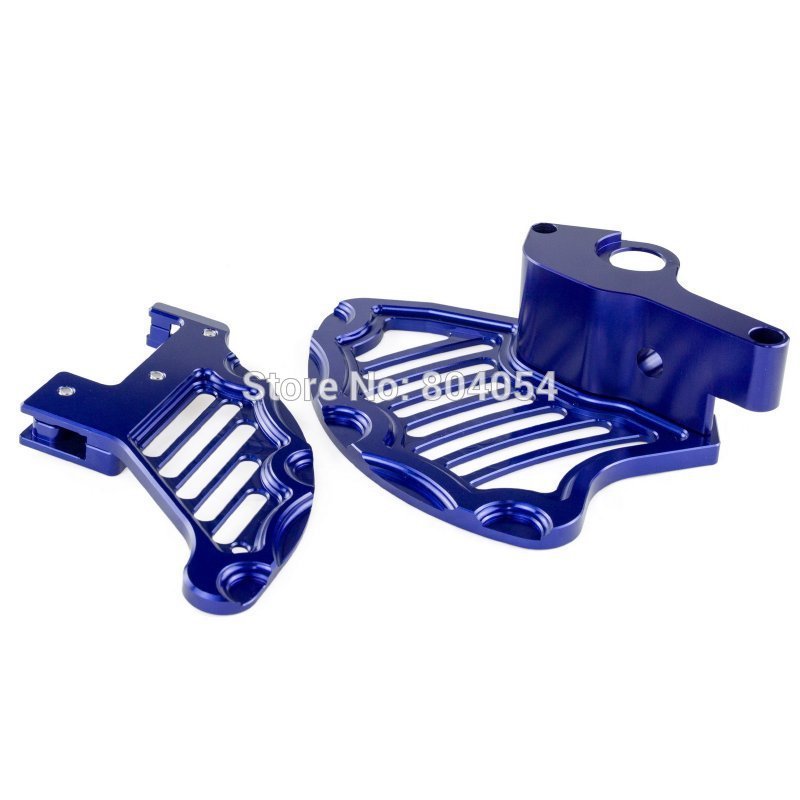 Blue  CNC BILLET FRONT & REAR BRAKE DISC GUARD For KTM 125-530 EXC XC SX SX-F 2004-2014 billet cnc rear brake disc guard w caliper bracket for ktm 125 450 sx sx f smr xc xc f 2013 2014 2015 2016