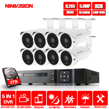 NINIVISION HD 8ch 5MP DVR NVR Kit H.265 System CCTV Security Up to 16CH NVR Outdoor Waterproof Camera Surveillance Alarm Video free shipping in stock ds 7716ni i4 english version nvr 16ch hmdi at up to 4k 4sata for 4hdd with alarm non poe nvr