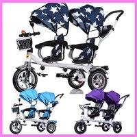 赤ちゃん双子三輪車ベビーカー3車輪