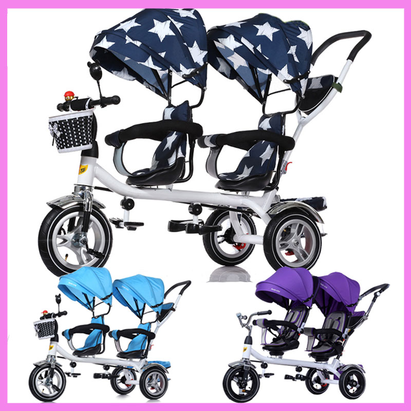 Baby Twins Tricycle Stroller 3 Wheels Double Stroller for Kids Twins Guardrail Seat Baby Toddler Bike Car Tricycle Child Pram baby stroller pram bb rubber wheel inflatable tires child tricycle infant stroller baby bike 1 6 years old bicycle baby car