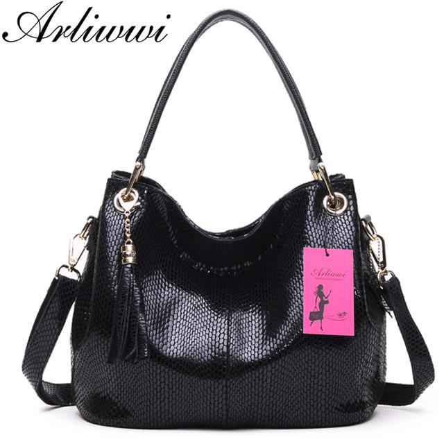 Arliwwi Brand Classical Snake Pattern Ladies Tote 100% Genuine Leather Fashion Women's Real Cowhide Crossbody Bag Handbags