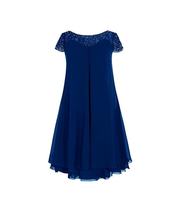 Summer plus size mother dresses for beach wedding lace for Royal blue short wedding dresses