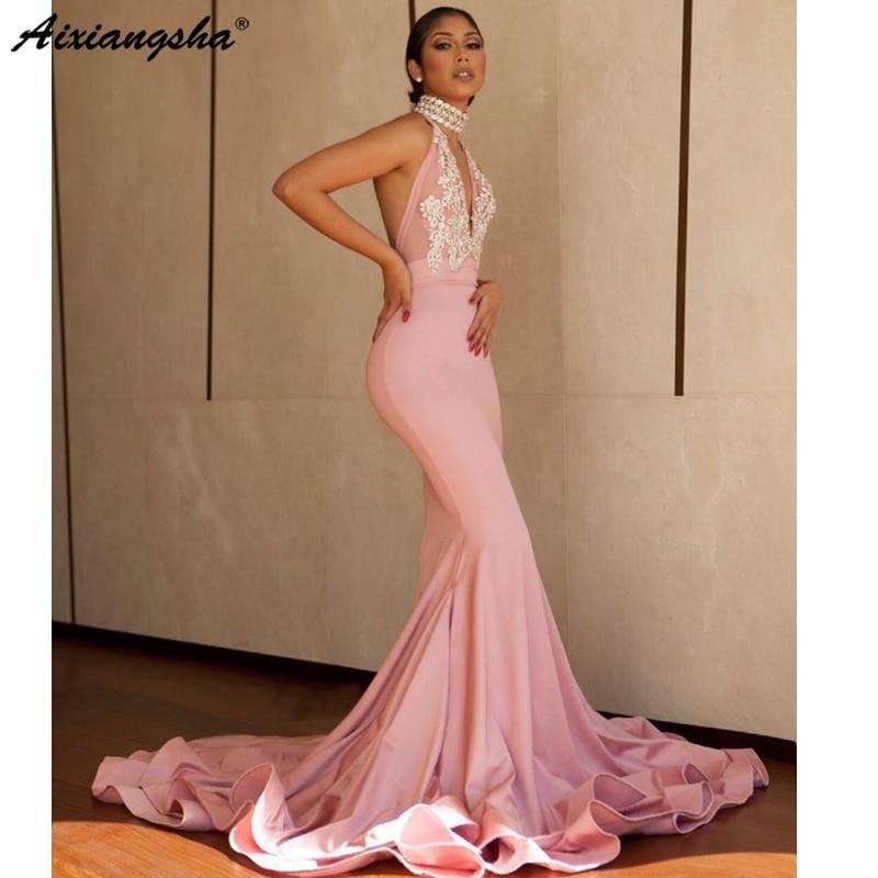 Sexy rose 2019 longues robes de bal sirène col haut trompette dos nu sans manches belle robe de soirée à paillettes robe de soirée