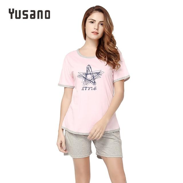 Yusano Women s Pajama Sets Shorts Cotton Summer Nightwear Sleepwear Set T- shirt Top with Pockets Start Print Casual Home Clothes 8e5a027b3f