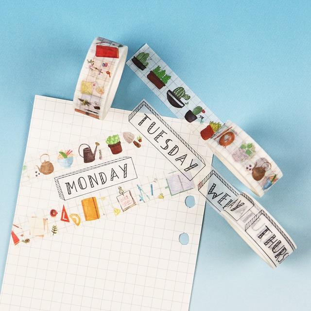 1,5 CM de ancho de la serie de viajeros Washi cinta adhesiva DIY álbum de recortes etiqueta adhesiva cinta adhesiva estudiante papelería regalo