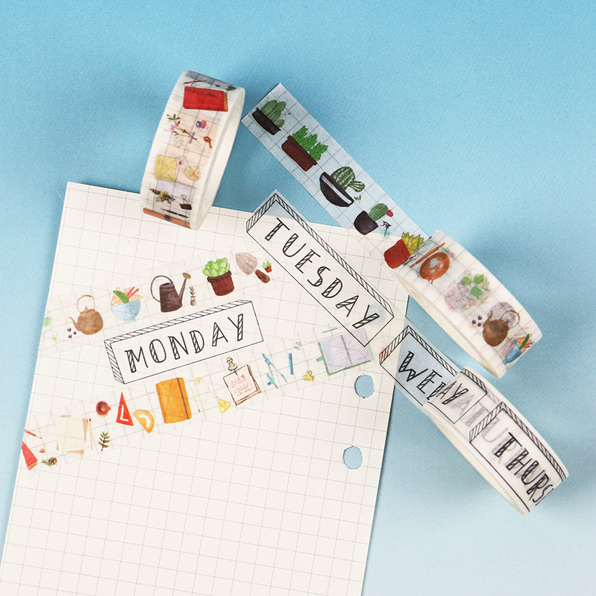 1.5CM Wide Traveller Series Washi Tape Adhesive Tape DIY Scrapbooking Sticker Label Masking Tape Student Stationery Gift