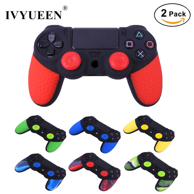 IVYUEEN 2 pcs Soft Anti-Slip Silicone Skin Case Cover For Sony PlayStation Dualshock 4 PS4 Pro Slim Controller Game Accessories