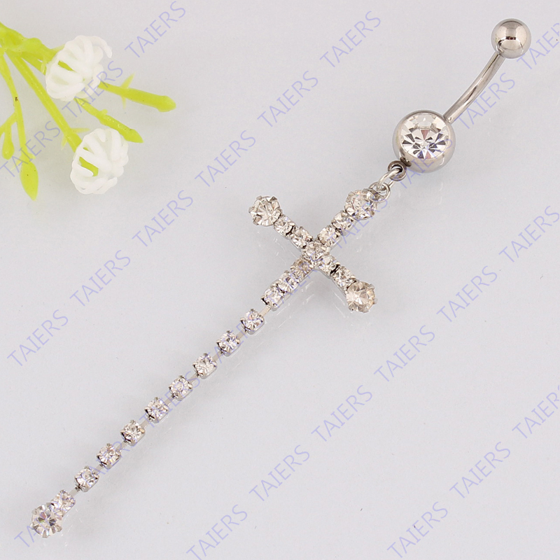 Belly Ring Claw Chain Tassel Cross Belly Button Ring -8650