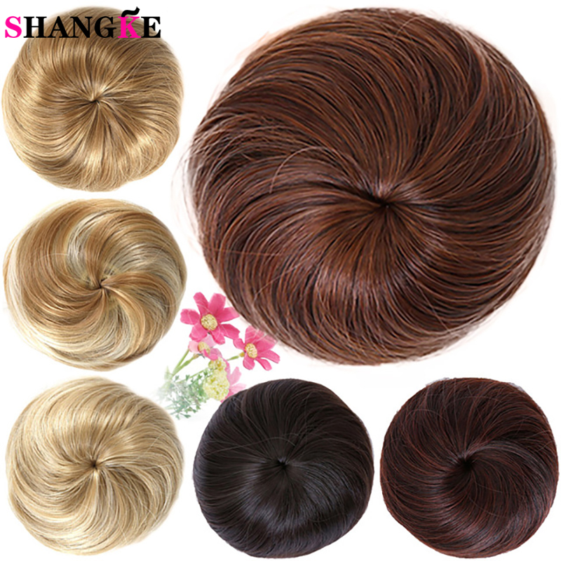 SHANGKE Girls Brown Blonde Bun Hair Chignon Synthetic Donut Roller Hairpieces High