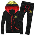 Spring Autumn 2017 New Leisure Suit Men Casual Slim Hood Youths Mens Tracksuit Set (Asian Size)