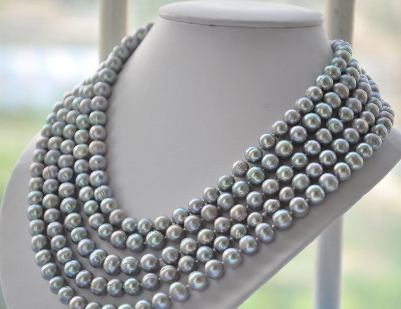 Wedding Woman Jewelry AAA 9-10MM Light Gray Pearl Natural Freshwater Pearl Necklace Handmade Free Shipping