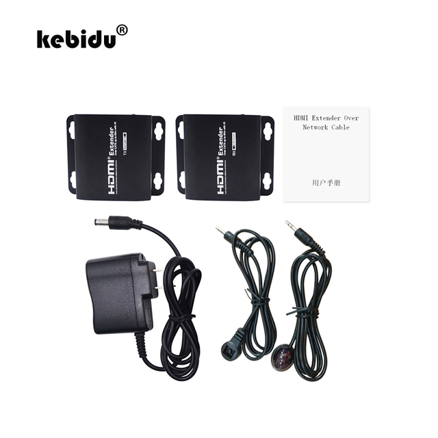 kebidu HDMI Adapter Extender Network 60M 1080P Extension IR HDMI to RJ45 Converter Transmitter & Receiver with Cat6/Cat7 Cable