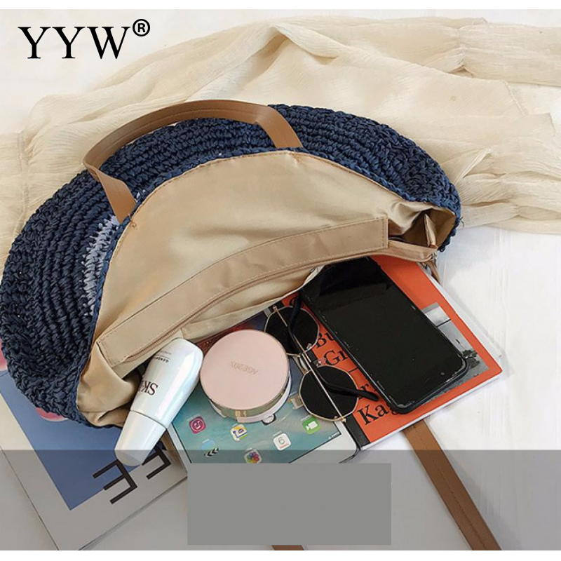 Hand Woven Round Woman 39 S Shoulder Bag Bohemian Large Size Beach Bag Summer Vacation Casual Shopping Female Handbag Rattan Totes in Shoulder Bags from Luggage amp Bags