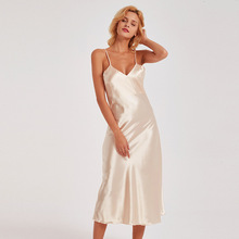 Sexy Women Nightgown Long Night Dress Artificial Silk Stain Deep-V Sleepwear Female Dressing Gown