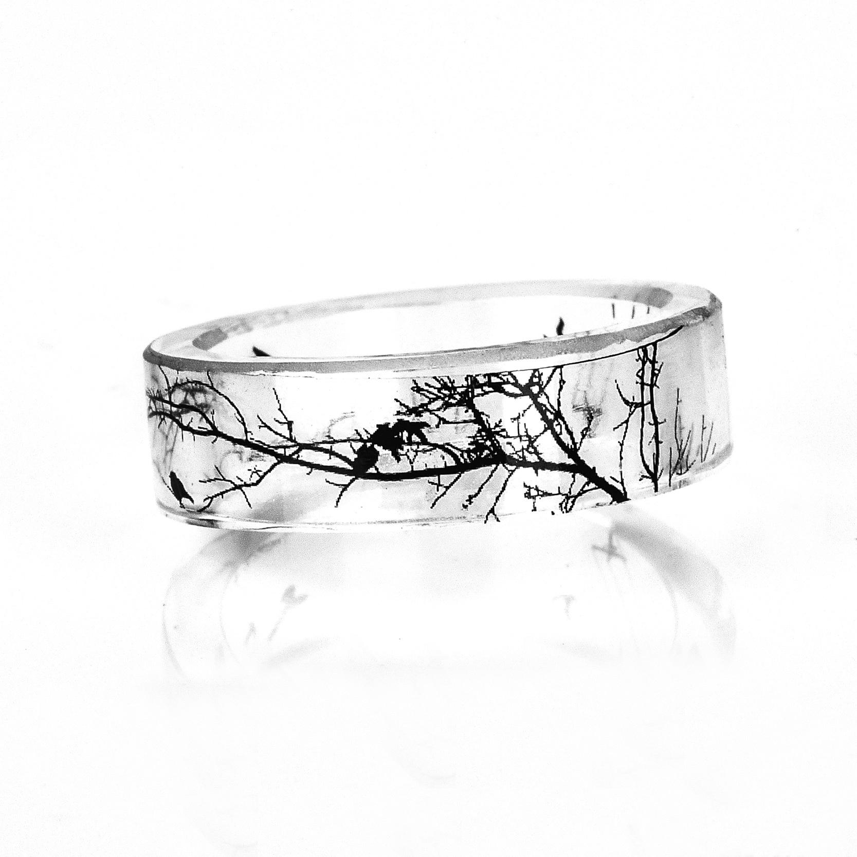 Chinese Ink Painting Art Tree Transparent Ring Handmade