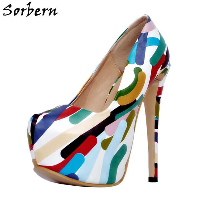2f05735a7d Sorbern Colored Print Slip-On Designer High Heels Size 14 Stripper Women  Shoes Platform 16Cm