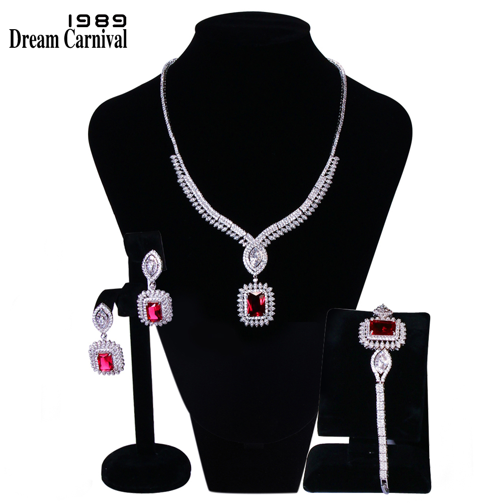 DreamCarnival 1989 Elegant Square Clear White Cubic Zirconia Bride Wedding Full Set for Women Marriage Jewelry