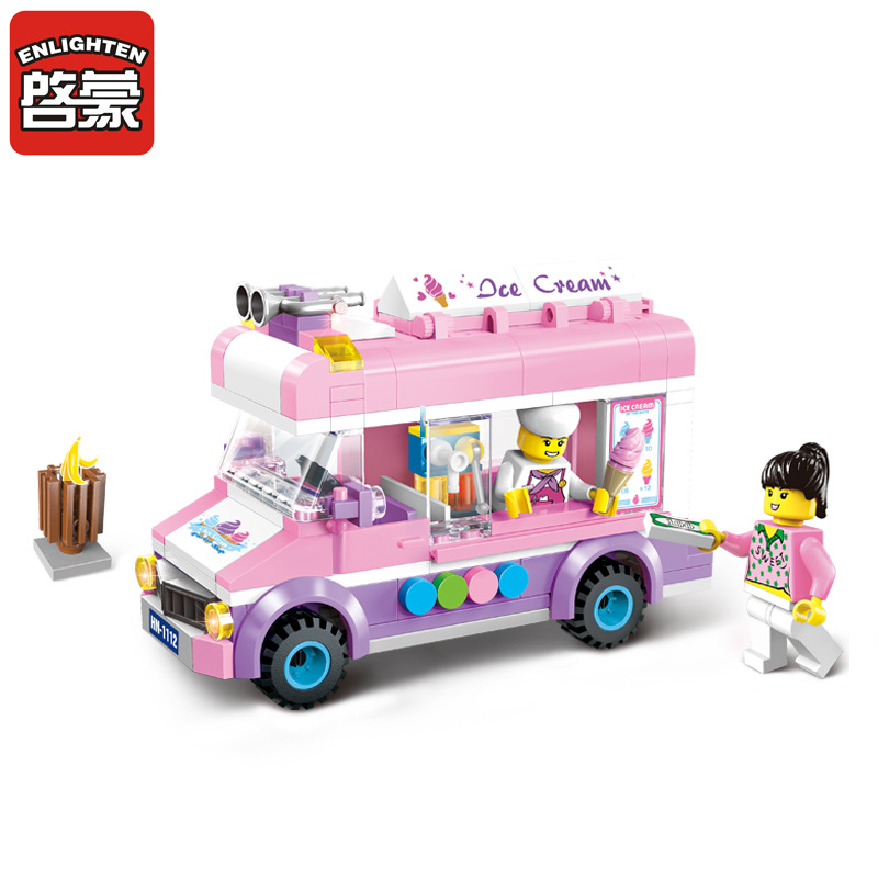 Enlighten NEW 213pcs 1112 city Ice cream truck  Building Blocks Kids Educational Mobile ice cart Bricks Mini Toys For Children 128pcs military field legion army tank educational bricks kids building blocks toys for boys children enlighten gift k2680 23030