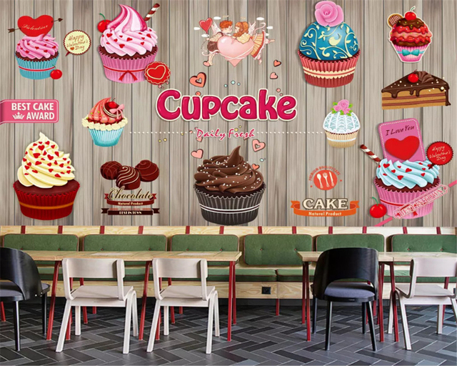 Beibehang Personality Fashion Wallpaper Paper Cup Cake Coffee Dessert Shop Bakery Backdrop Wall Papel De Parede