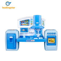 LeadingStar Kids Kitchen Pretend Play Toys Light Music Simulation Cooking Tableware Set Baby Play House Toy