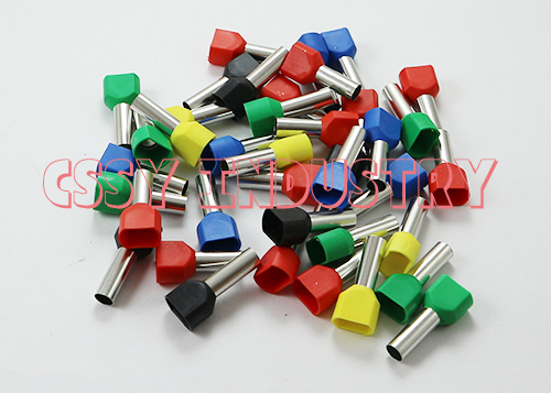 1000PCS/Lot twins Dual Bootlace Ferrule teminator cable ends cord terminal TE0508  2*0.5mm2 red yellow blue green black 5 color dual terminal crimping tool with 720pcs dual bootlace ferrule crimp connector teminator kit