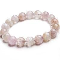 Модные браслеты простирания для женщин 12мм Подлинная Красочные Kunzite Кварцевый Прозрачный Круглый бисера Природный камень браслет