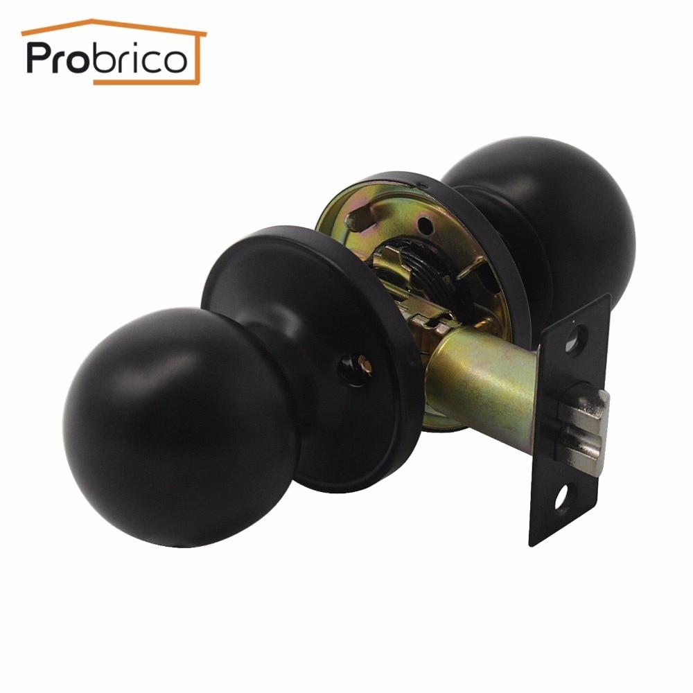 Probrico Stainless Steel Passage Keyless Door Lock Black Door Knob And Door Handle For Interior Door DL607BKPS oem interior black door knob