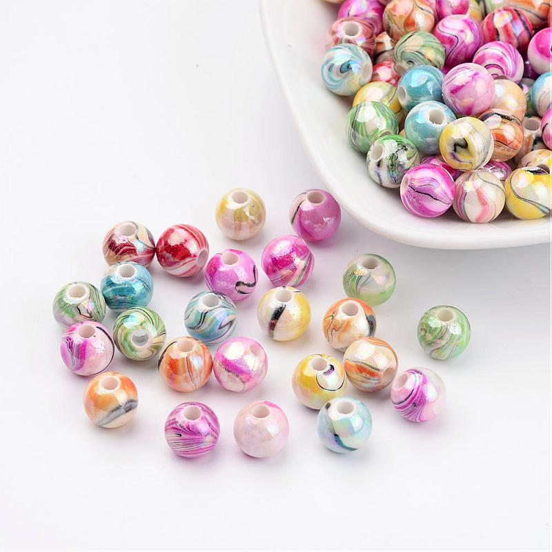 50pcs Transparent AB Color Acrylic Beads Round Mixed Color 10mm Hole 2mm