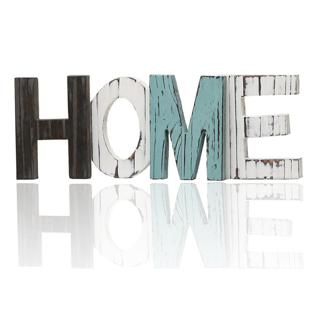 Rustic Wood HOME Letters Decorative Plaques Signs Standing Cutout Word Decor Living Room Festival Party Supplies